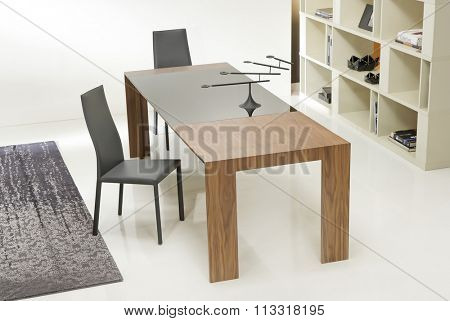 NEW FURNITURE LINE . MODERN DESIGN . STRAIGHT LINES . MATERIALS : WOOD ,  FABRIC . ITEMS : TABLE WITH CHAIR SET
