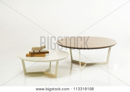 NEW FURNITURE LINE , MODERN DESIGN,  STRAIGHT LINES , MATERIALS : WOOD, METAL . ROUND WOODEN TABLE SET