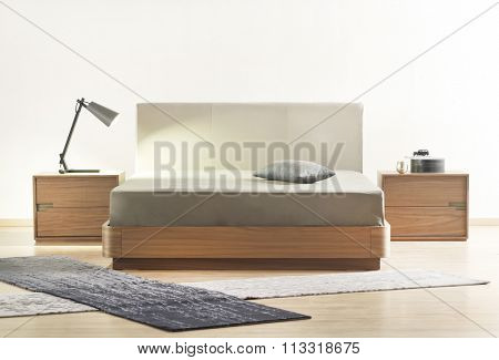 NEW FURNITURE LINE . MODERN DESIGN . STRAIGHT LINES . MATERIALS : WOOD ,  FABRIC . ITEMS : BED , BEDSIDE TABLES