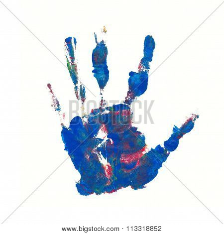 Hand Print In Mixed Colors Blue Red