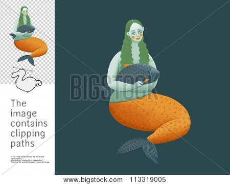 The illustration of the mermaid holding a fish.  A part of Dodo collection - a set of educational cards for children. The image has clipping paths and you can cut the image from the background.