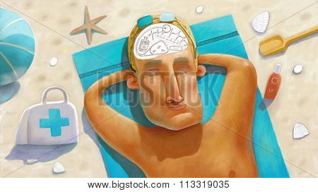 The illustration of a medicine doctor resting on the beach thinking of his work.
