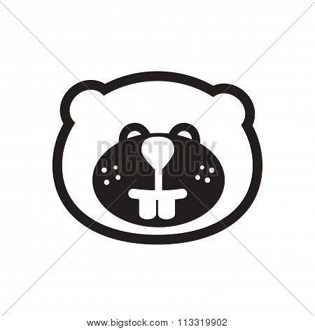 stylish black and white icon Canadian beaver
