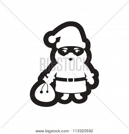 Flat icon in black and white Santa Claus