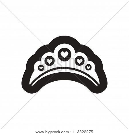 Flat icon in black and white diadem