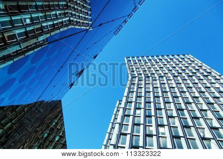 HAMBURG, GERMANY - MARCH 08: dancing towers beside the Arcotel Onyx on March 08, 2014 in Hamburg. The dancing towers are award-winning buildings by architects office BRT - Bothe, Richter, Teherani.