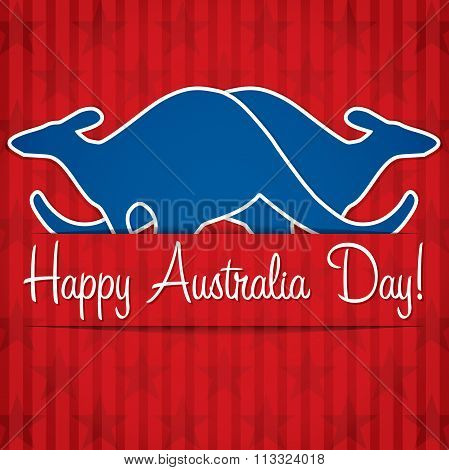 Kangaroo Sticker Australia Day Card In Vector Format.
