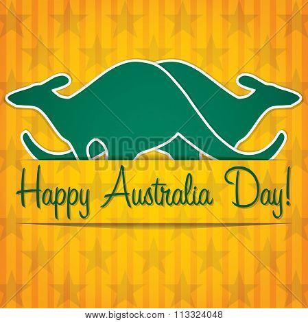 Kangaroo Sticker Australia Day Card In Vector Format.