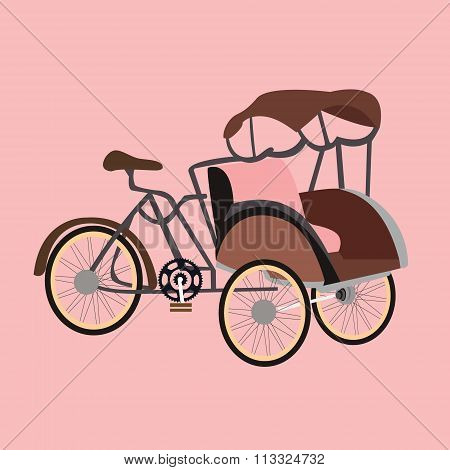 becak rickshaw indonesia jakarta icon flat vector illustration transportation