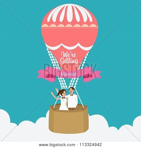 couple we are married flying hot air balloon vector flat illustration romantic