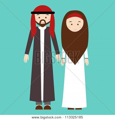 couple man woman wearing arab arabic traditional costume clothes dress male female vector illustrati