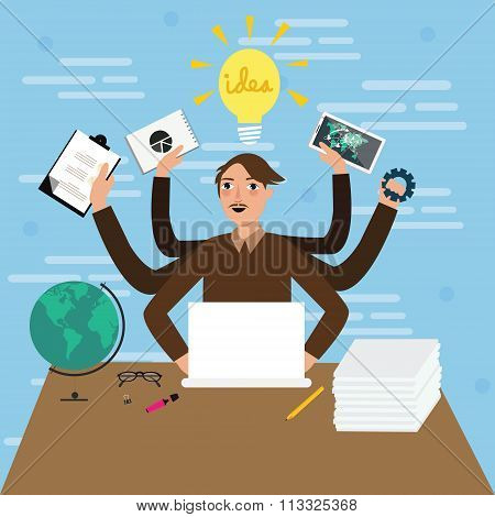 business person male man multitasking hand holding paper work jobs vector illustration flat stressed