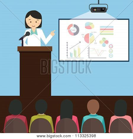 woman girl female give presentation presenting chart report speech in front of audience vector illus
