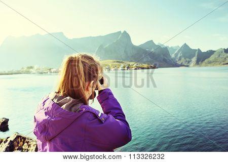 Woman traveler in Norway