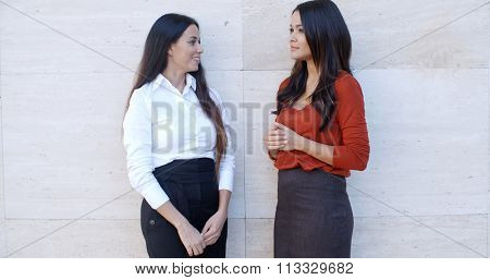 Two elegant young businesswomen standing chatting outdoors in front of a white wall with bilateral copyspace  panoramic view