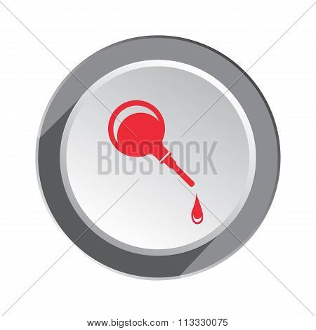 Clyster, enema icon.  Medical tool symbol. Red sign on round white-gray button with shadow. Vector