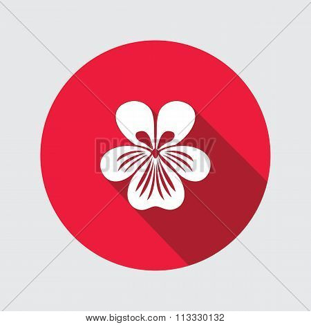 Violet, pansy flower icons. Spring floral symbol. Round circle flat icon with long shadow. Vector