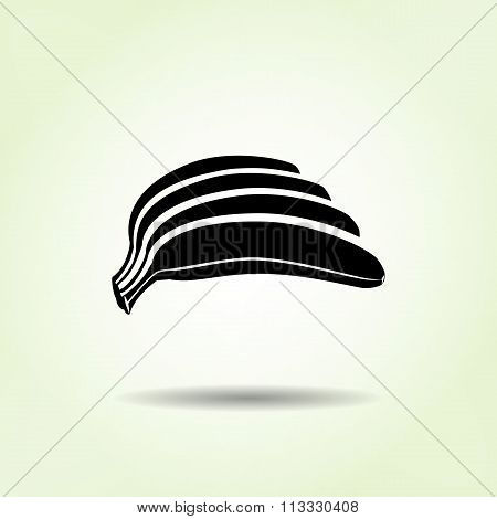 Banana icon. Hand of bananas. Black silhouette with shadow on light green backdround. Flat design. V
