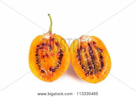 Sliced Tamarillo Fruits Also Known As Tomato With White Background