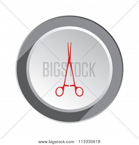Forceps, tweezers. Medical tool icon. Health and medicine symbol. Red sign on white-gray button with