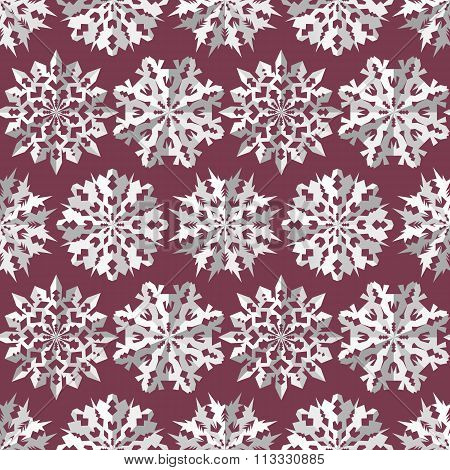 Origami snowflake seamless pattern. Christmas, New Year texture. Paper cut out white signs on vinous