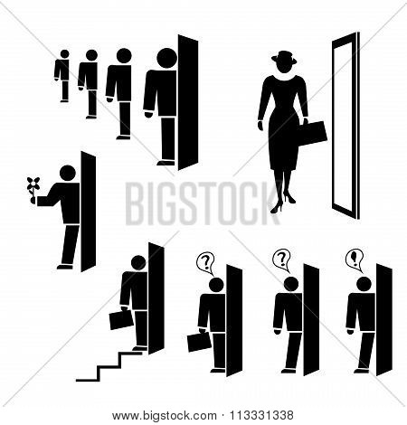 People icon set. Exit, entrance, search symbols. Black silhouette on white background. Vector illust