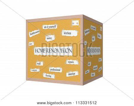 Home Renovation 3D Corkboard Word Concept