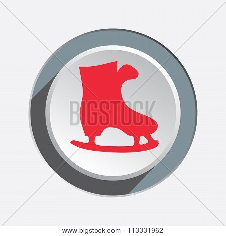 Skating icon. Sport, winter, Christmas symbol. Red sign on white-gray button with shadow. Vector