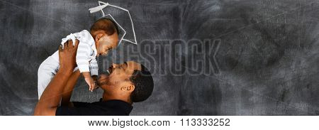 Happy young father who is with his son at graduation