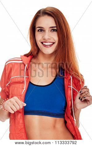 Aerobics fitness woman. smiling portrait