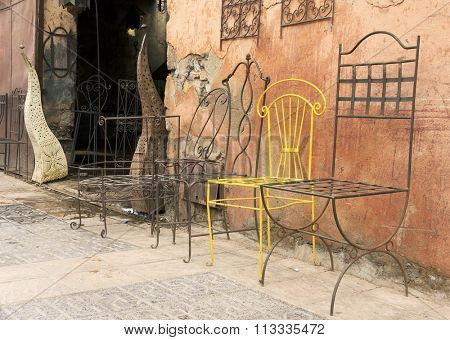 Vintage chairs in Marrakech, Morocco, Africa