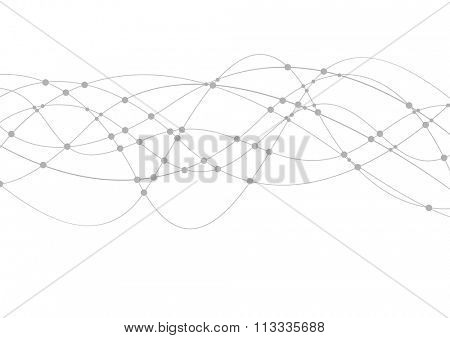 Geometric tech wavy lines abstract background. Grey curves vector graphic design