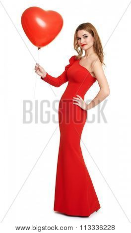 lady in red dress with balloon in heart shape, romantic concept, white background
