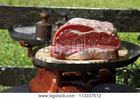 against raw steak