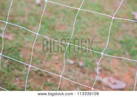Soccer Goal Net On Blurred Background
