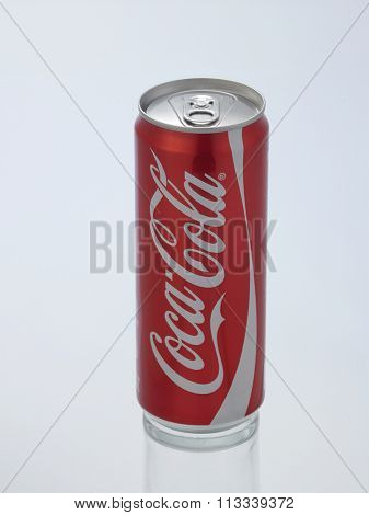 Kuala Lumpur Malaysia December 28, 2015,new slim and tall design of cocacola original can