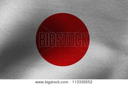 Closeup of ruffled Japan flag