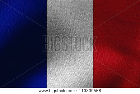 Closeup of ruffled France flag