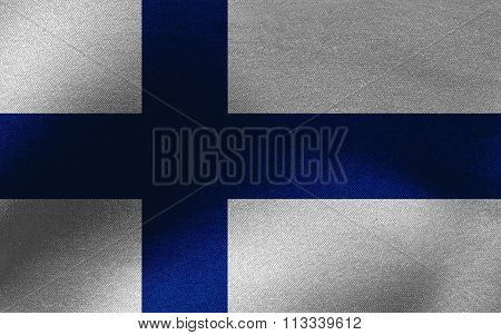 Closeup of ruffled Finland flag