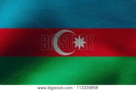 Closeup of ruffled Azerbaijan flag