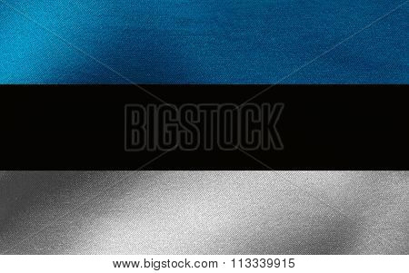 Closeup of ruffled Estonia flag