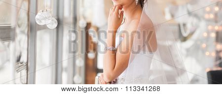 valentine's day, bridal, wedding, christmas, x-mas, winter, happiness concept - bride looking at win