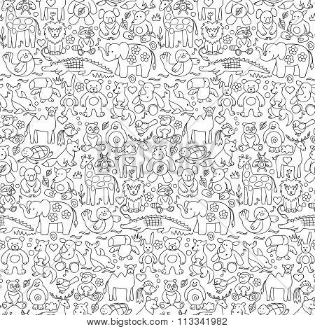 Seamless pattern of children animal  toys