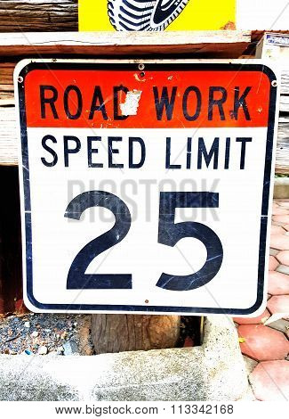 Road Work And Speed Limit Sign