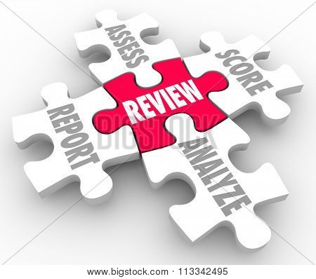 Review, Report, Assess, Analyze and Score words on five puzzle pieces to illustrate evaluation or rating performance