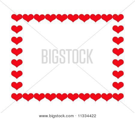 Heart Border Isolatedon White