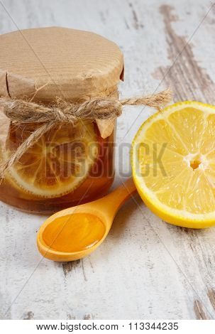 Fresh Lemon And Honey On Wooden Table, Healthy Nutrition