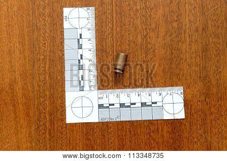 Crime Scene, Empty Bullets Casings On Ground