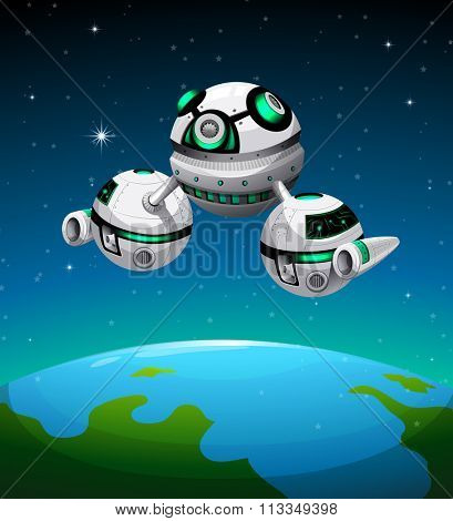 Spaceship flying over the planet illustration
