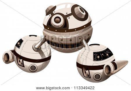 Round spaceship with engine illustration
